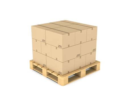 Rendering van een aantal kartonnen dozen gelijkmatig gestapeld op een dubbeldeks pallet Stockfoto