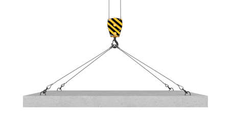 lifting hook: Rendering of crane hook lifting concrete panel on the white background