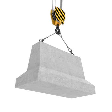 2 本のロープとフックに掛かっているコンクリート ブロックのレンダリング 写真素材