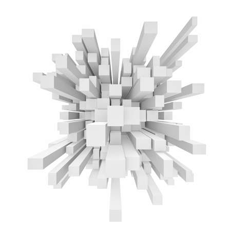 Rendering of abstract cube mosaic in perspective on white background. Banco de Imagens