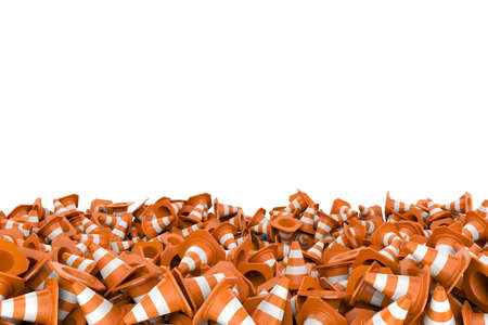 Rendering heap of road cones lying each on other