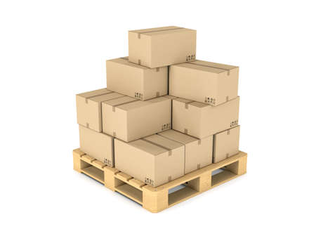 Rendering of several carton boxes stacked evenly on a double-decked pallet