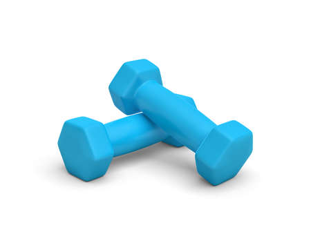 Rendering pair of blue light weight dumbbells isolated on white background.