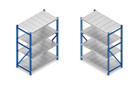 Representación 3D de una unidad de estantería de acero gris y azul en vista isométrica de doble cara.