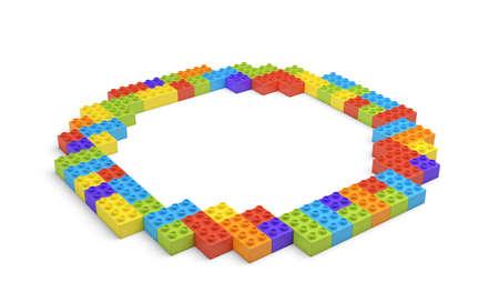 Het 3d teruggeven van vele bouwstenen in verschillende kleuren die één holle ronde vorm in zijaanzicht maken.