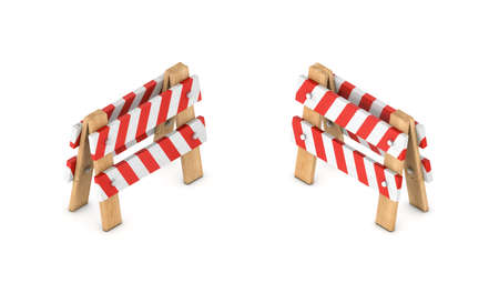 3d rendering of a white and red traffic chevron sign on a wooden stand in double-sided isometric view. Stock Photo