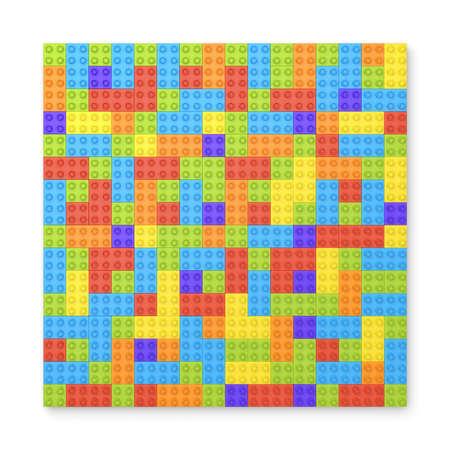 Het 3d teruggeven van vele stuk speelgoed blokken in verschillende kleuren die één grote vierkante vorm in hoogste mening maken.