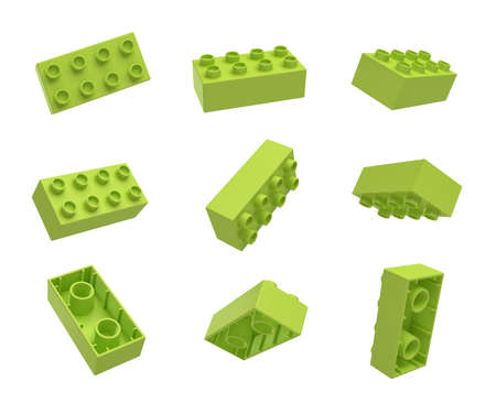 basic scheme: 3d rendering of many green toy blocks hanging in the air and shown from all sides.