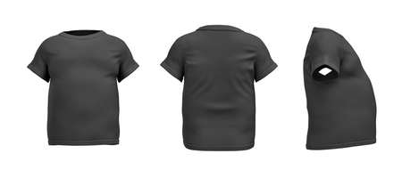 tight body: 3d rendering of a black T-shirt in realistic fat shape in side, front and back view on white background.