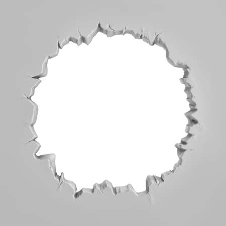 gaping: 3d rendering of a grey plaster wall with a large round torn hole in the middle. Stock Photo