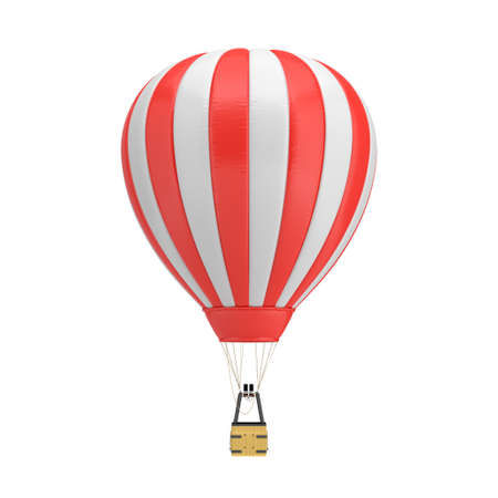 3d rendering of a red and white hot air balloon with a basket on white background.
