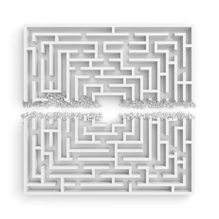 3d rendering of a white maze in front bottom view cut in straight line in half with rubble on the edges.