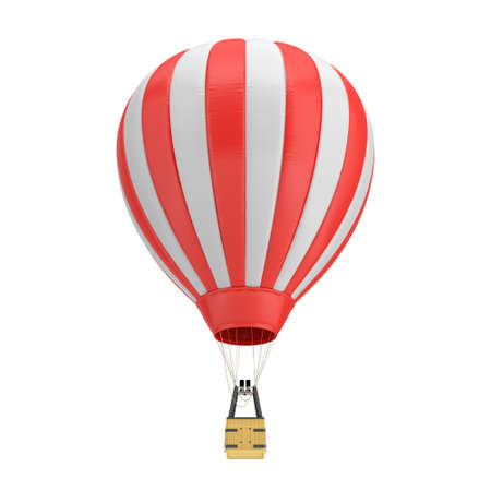 rendering: 3d rendering of a red and white hot air balloon with a basket on white background.