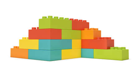 3d rendering of multi-colored toy bricks making up two-sided stairs on white background. Stock Photo