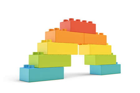 3d rendering of multi-colored toy blocks making up a rainbow bridge.
