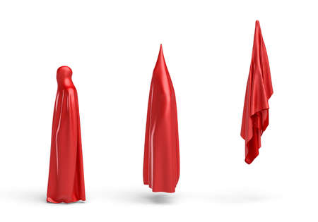 falling man: 3d rendering of a human silhouette covered by red cloth shown in 3 stages.