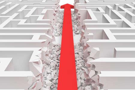 サイドビューの白い正方形の迷路の 3 d レンダリングは、赤矢印の線で半分に分かれています。