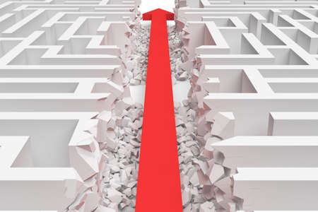 3d rendering of a white square maze in side view divided in half by a red arrow line.