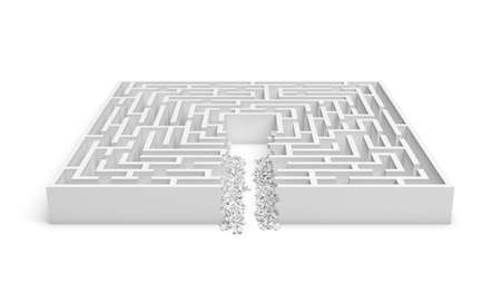 3d rendering of a white square maze with a direct route cut right to the center. Stock Photo