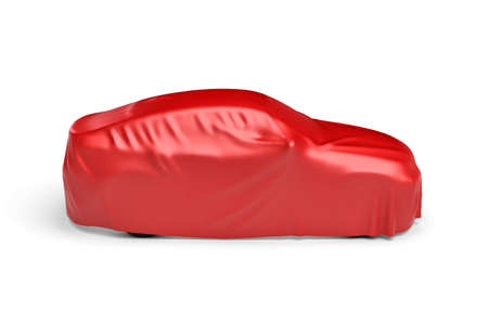 unveiling: 3d rendering of a car covered by red cloth Stock Photo