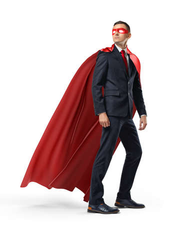 A businessman in a hero red cape and a mask in front view looking in the distance over his shoulder on white background.