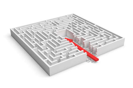 borrowing: 3d rendering of a square maze with a red arrow borrowing to the center isolated on white background