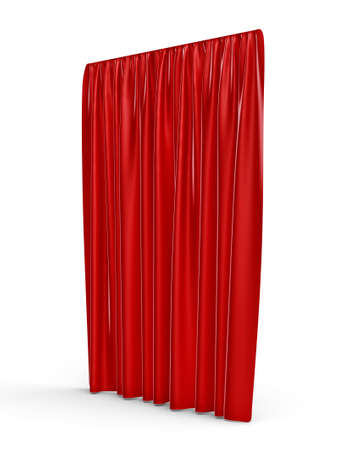 intermission: 3d rendering of a straight red closed curtain isolated on white background.
