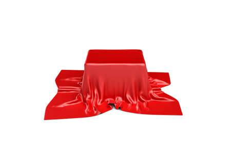 3d rendering of a box covered by red cloth in front view. Ads and promotion. Stock Photo