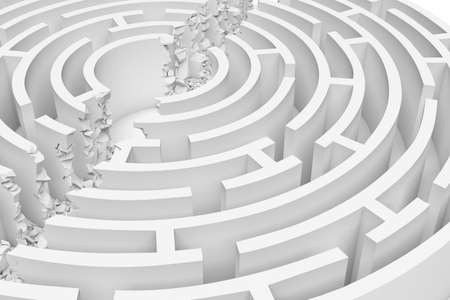 3d rendering of a white round maze with its walls broken by a straight line of rumble dividing the maze in half.
