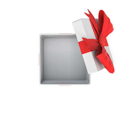 3d rendering of a white open gift box tied with a red bow on white background. Stock Photo