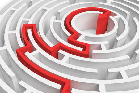 3d rendering of a white round maze with a red arrowed line showing the way out in close-up view.