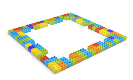 connection block: 3d rendering of many blocks in different colors making up one hollow square shape