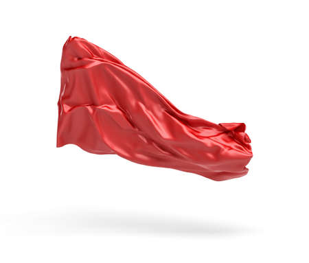 abstract paintings: 3d rendering of piece of red satin clothes is flying in the air isolated on white background