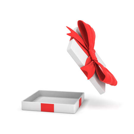 3d rendering of a white flat gift box with a red bow on white background with opened lid hanging high above. Stock Photo