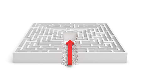 broken strategy: 3d rendering of a square maze with a red arrow borrowing to the center isolated on white background