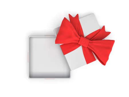 Rendu 3d d'un carré blanc ouvert boîte cadeau avec un arc rouge sur fond blanc comme on le voit d'en haut. Banque d'images - 76822025