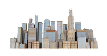 3d rendering of a city landscape with office buildings and skyscrapers isolated on white background.