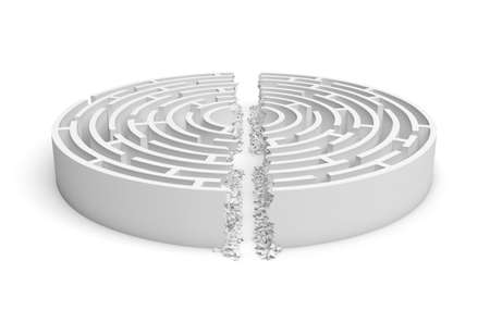 broken strategy: 3d rendering of a white round maze with its walls broken by a straight line of rumble dividing the maze in half.