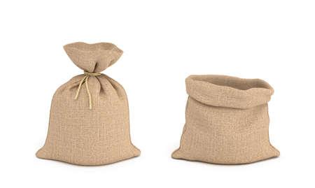 3 d レンダリングの結ばれたキャンバス気嚢とオープン前の袋に表示の分離ホワイト バック グラウンド
