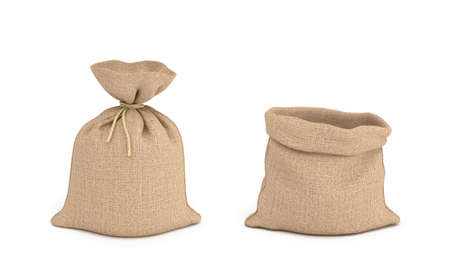3d rendering of tied canvas sacs and open sack in front view isolated on white background