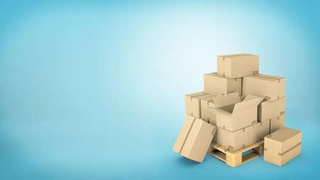 많은 갈색 판지 상자는 나무 팔레트에 상자 중 일부가 열려 있거나 바닥에 놓여 있습니다. 스톡 콘텐츠