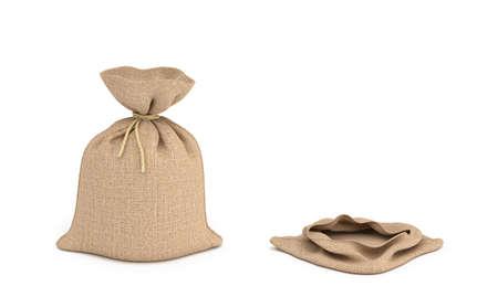 2 つの分離お金の袋、完全かつ空の 3 d レンダリングします。