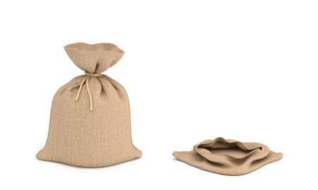3d rendering of two isolated money bags, full and empty.