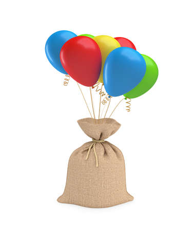 A big full sack tied with a piece of rope and attached to a bundle of colorful balloons.