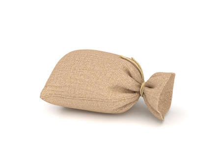 coarse: 3d rendering of burlap money bag isolated on white background.