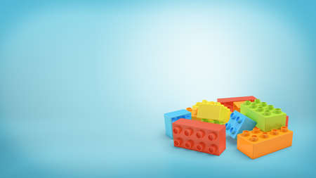 3d rendering of several multi-colored rectangular toy blocks lying in a pile on blue background.
