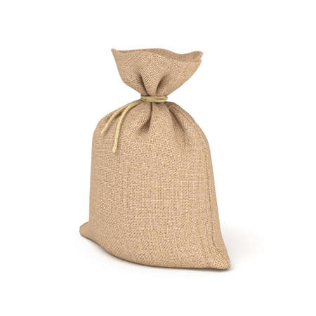 coarse: 3d rendering of burlap bag isolated on white background.