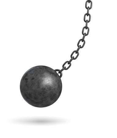 wrecked: 3d rendering of a dark black wrecking ball hanging from a chain and swinging in one side.