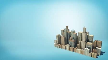 Rendu 3D d'un petit groupe isolé de nombreux bâtiments commerciaux de grande taille vu de dessus sur fond bleu. Banque d'images - 78364039