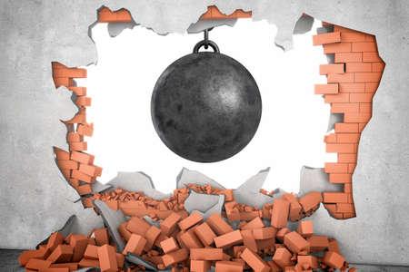 あちこちに散らばっている多くのレンガとレンガの壁で作られた穴にぶら下がっている大きな黒いレッキング ボールの 3 d レンダリングします。